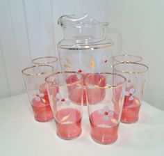 Vtg 7 Piece Clear Pitcher & Glasses w/ Hand Painted Floral & Cranberry Red Band