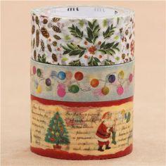 Christmas mt Masking Tape deco tape set 3pcs mistletoe lights Santa story 1