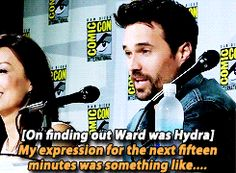 Brett Dalton during Marvel's Agents of S.H.I.E.L.D. panel at San Diego Comic Con 2014.------Don't worry, we were all surprised too!