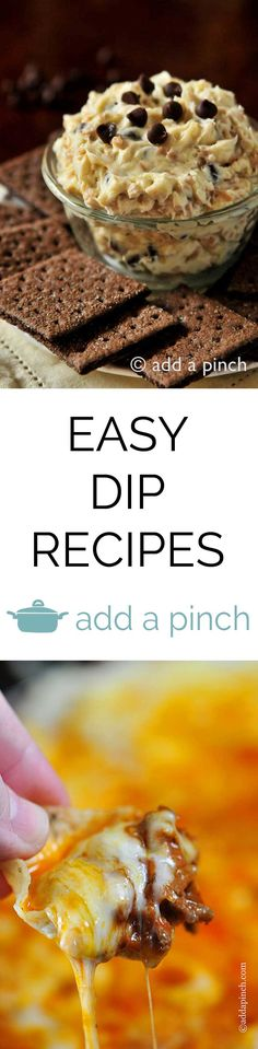 Easy Dip Recipes: a collection of easy sweet and savory dip recipes that are perfect for the holidays, tailgating, and so much more!