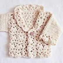 Harriet Lace Cardigan Crochet pattern by Mon Petit Violon Crochet Gifts, Crochet Yarn, Crochet Hooks, Kids Crochet, Crochet Cardigan Pattern, Lace Cardigan, Sweater, Baby Patterns, Knitting Patterns