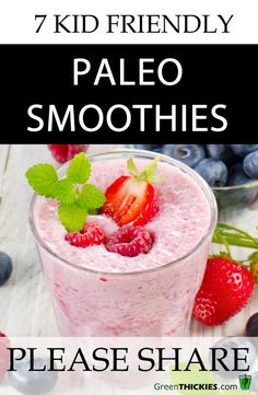 7 Kid-Friendly Paleo Smoothies Paleo diets are great for balancing your blood sugar levels. These Paleo smoothies will give your kids an amazing energy boost as well as taste amazing! More from my siteKid Friendly Paleo Recipes Healthy Smoothies, Healthy Drinks, Healthy Eating, Detox Drinks, Paleo On The Go, How To Eat Paleo, Whole Food Recipes, Diet Recipes, Paleo Smoothie Recipes