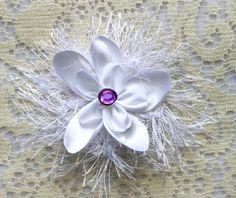 White Satin Flower  25 White Flower with Purple by IDoDoodads, $20.00