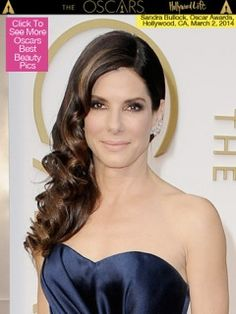 Sandra Bullock Oscars 2014 hair to one side. Our Bridal Hairstylists from www.SoBeMakeupStudio.com can achieve the same look. Perfect combination of hair down but contained so it holds all night and doesn't blow in the wind. Perfect bridal hairstyle for a beach wedding or outdoor wedding.