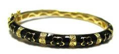 Black Enamel Flowers 18k Yellow Gold Plated Kids Girls Teens Women Bangle Bracelet 57 mm Kids Jewelry USA. $29.99. 57mm Diameter. 18k Yellow Gold Plated. Free Jewelry Pouch Included. Black Enamel. Save 76% Off!
