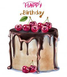 Happy birthday delicious cherry cake vector image on VectorStock Happy Birthday Art, Happy Birthday Wishes Images, Happy Birthday Celebration, Happy Birthday Pictures, Happy Birthday Greetings, Birthday Quotes, Birthday Humorous, Birthday Cards, Vintage Birthday