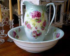 Antique Porcelain PITCHER & BOWL Roses Basin Chic England Shabby