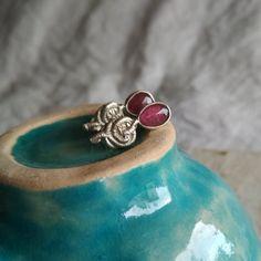 Sterling silver pink tourmaline stud earrings. Rose Earrings, Silver Earrings, Silver Jewelry, Stud Earrings, Silver Pearl Ring, Silver Pearls, Tourmaline Earrings, Pink Tourmaline, October Birth Stone