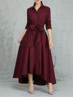 High waist dress - Solid Color Pleated Asymmetrical Tie Waist Maxi Dresses is comfortable, see other simple casual dress on NewChic Dresses Elegant, Modest Dresses, Stylish Dresses, Dresses For Work, Maxi Dresses, Wedding Dresses, Formal Dresses, Wrap Dresses, Plus Size Dresses