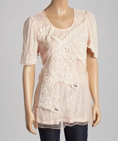 Look what I found on #zulily! Pink Floral Lace Silk-Blend Layered Top by Pretty Angel #zulilyfinds