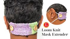Face Mask Extender Free Pattern with Video (Loom A Hat Loom Hats, Loom Knit Hat, Loom Knitting Projects, Loom Knitting Patterns, Knitting Stitches, Knitting For Charity, Free Knitting, Spool Knitting, Finger Knitting