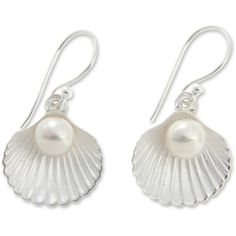 Sterling Silver and Pearl Seashell Earrings (£35) ❤ liked on Polyvore featuring jewelry, earrings, mermaid, ariel, shell earrings, seashell jewelry, shell jewelry, dangle earrings and sterling silver earrings