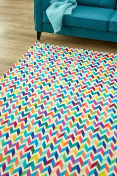 Invite some colour into your home with this detailed geometric which is bold, yet beautiful.) Please note that, as these printed rugs are made to order, we cannot accept returns/exchanges or refunds. Mohair blanket available at Cape Mohair. Rug Making, Multi Colored Chevron, Cool Stuff, Rugs, Tv Room, Printed Rugs, Chevron, Contemporary Rug, Brick Shed