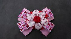 Pink Flower Hairbow Red Rose Hairbow Girls by GloriaMillerCreation, $6.00