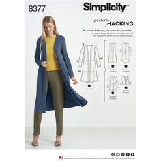 Simplicity Pattern 8377 Misses' Knit Cardigan with Variations and Multiple Pieces for Design Hacking Simplicity Sewing Patterns, Sewing Patterns Free, Clothing Patterns, Dress Patterns, Knitting Patterns, Free Sewing, Paper Patterns, Sewing Tutorials, Cardigan Design