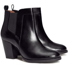 H&M Leather boots (1,035 MXN) ❤ liked on Polyvore featuring shoes, boots, ankle booties, chaussures, booties, h&m, black, black leather booties, leather ankle boots i black high heel boots