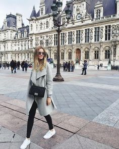 Grey jacket + white sneaks + chanel bag // passionsforfashion