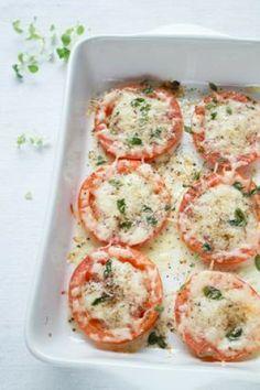 Parmesan baked tomatoes. Yum! On baking sheet place 2 sliced medium tomatoes, 1/3 cup freshly grated Parmesan, fresh oregano, salt, pepper, ...