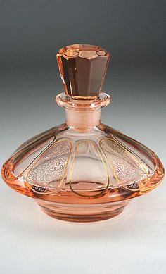 c.1920 Pink Glass Deco #antique #vintage #perfume #scent #bottle