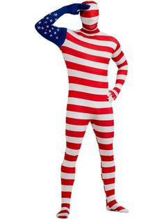 Check out Men's USA Flag Skin Suit Adult Costume - Skin Suits Halloween Costumes from Costume Super Center