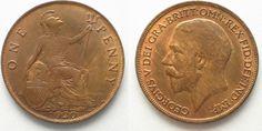 1920 England GREAT BRITAIN Penny 1920 GEORGE V bronze UNC!!! # 95270 UNC