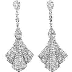 Pre-owned 18K White Gold & Diamond Fan Drop Earrings (272,295 INR) ❤ liked on Polyvore featuring jewelry, earrings, diamond jewelry, diamond drop earrings, 18k earrings, 18k diamond earrings and drop earrings