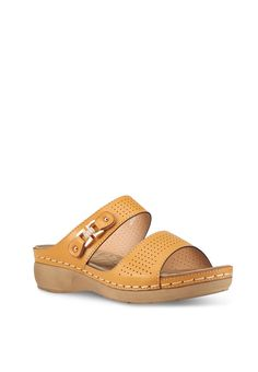 Feather Weight Comfort Series Slip-on Wedges Leather Shoes, Leather Bag, Ladies Sandals, Brown Wedges, Heel Boots, Leather Design, Brunei, Womens Slippers, Flat Sandals