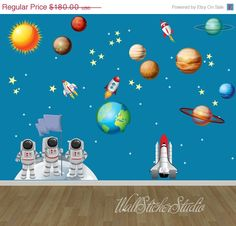 20% OFF ON SALE Rocket Space Wall Decals, Rocket Solar System Wall Decal Stickers, Reusable Fabric Decal