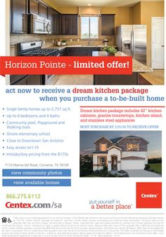 New Homes for Sale in Converse, Texas  Limited Time Offer at Horizon Pointe  http://www.centex.com/communities/TX/converse/HorizonPointe/209599/index1.aspx#.Vo7JJjjwuM9