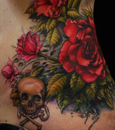 A stunning tattoo of roses and a skull with crossed keys by Scott Trerrotola « « Ratta Tattoo