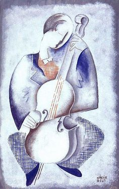 Kádár Béla(Hungarian, 1877-1956)  Violin cellist 1935