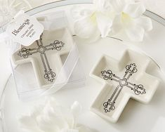 First Holy Communion Favors -  Ceramic Cross Trinket Dish
