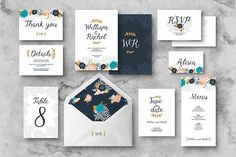 This Floral Wedding Invitation suite included 8 editable cards with flowers, branches and hand lettered font. Some of them have front & back design (main invitation and RSVP). Editable text and layers! Graphic Design resources templates | Graphic Design Inspiration | Graphic Design resources products| graphic design resources ideas | graphic design resources social media | graphic design resources small businesses |