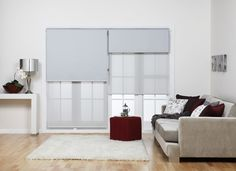 Double holland blinds split for the door