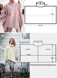 Poncho Pattern Sewing, Easy Sewing Patterns, Sewing Tutorials, Clothing Patterns, Dress Patterns, Diy Clothing, Fashion Sewing, Diy Fashion, Ideias Fashion