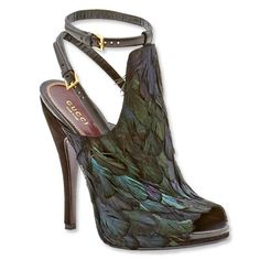 Gucci Open-Toe Feather Booties. These are gorgeous!