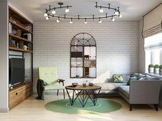 Гостиная в стиле светлый лофт