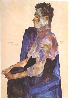 Egon Schiele (1890-1918), Portrait of Anton Peschka (1911), pencil and gouache on paper, 30 x 45 cm. Collection of Leopold Museum, Vienna, Austria.