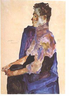 Egon Schiele (1890-1918), Portrait of Anton Peschka (1911), pencil and gouache on paper, 30 x 45 cm. Collection of Leopold Museum, Vienna, Austria.