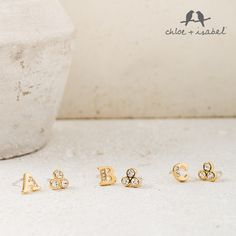 ADORABLE!! 12k gold plated Mismatched alphabet stud earrings! 2 for $45. Can you say PICTURE DAY for the kiddos?