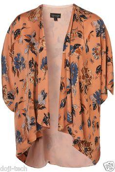 Topshop Premium Peach Floral Vtg Waterfall Kimono Cardigan Cape Jacket 14 42 M/L | eBay
