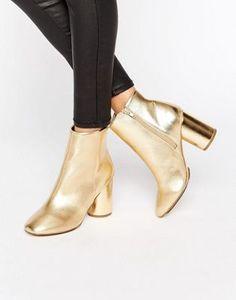 London Rebel Gold Round Heel Boot