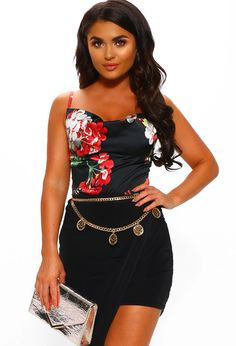 Pink Boutique's bestselling floral cami top is back in a sexy black colourway! Order now with UK Next Day Delivery before it sells out . Pink Boutique Uk, Cowl Neck Top, Layered Look, Cami Tops, Satin Fabric, Party Fashion, Peplum Dress, Floral Tops, Midi Skirt