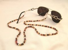 Beaded cord for sunglasses. Brown / Gold. #lanyard #glassescord #sunglassescord #accessories #beadedlanyard