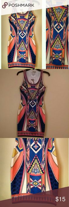 Colorful Dress Color: Yellow, Blue, Coral 96% Polyester, 4% Spandex, Forever 21 Dresses