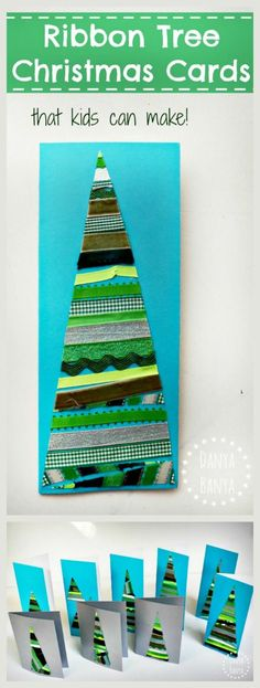 Ribbon and/or Washi tape tree Christmas cards that kids can make