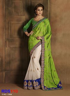 New Arrival Off White And Green Exclusive Saree