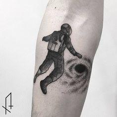 Dotted Astronaut Tattoo by Gioele Cassarino