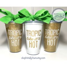 Tropic Like It's Hot Tumbler Beach Bachelorette Party Miami... ($15) ❤ liked on Polyvore featuring home, kitchen & dining, drinkware, black, drink & barware, home & living, tumblers & water glasses, outdoor cart, bpa free tumbler and personalized tumblers