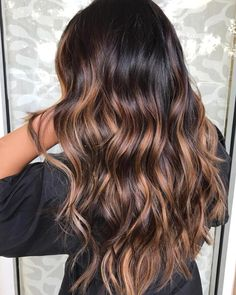 Long Brown Layers With Beige Balayage